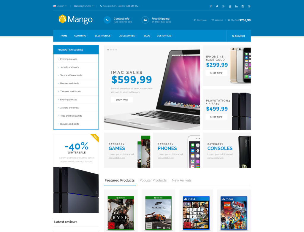 basic ecommerce website template